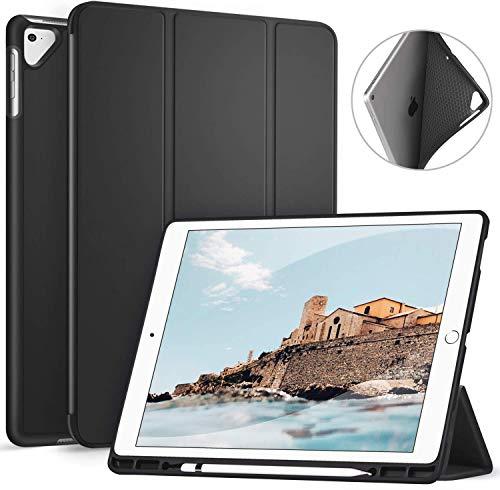 """Ztotop Custodia per iPad PRO 12,9"""" 2017/2015 con Porta Pencil,Cover Posteriore soffice TPU,Ultra-Sottile,Leggera,Supporto Tri-Fold,con Funzione Sveglia/Sonno Auto,Nero"""
