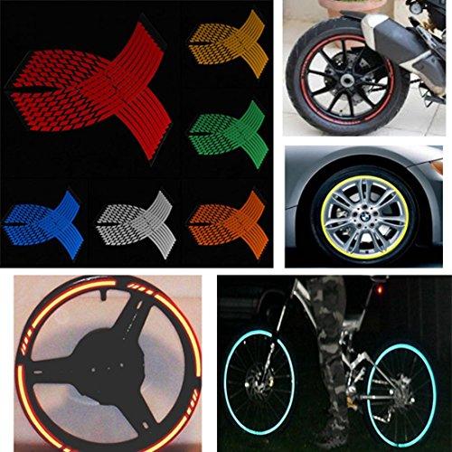 JenNiFer 16-18 Pouces Autocollant De Roue Bande Réfléchissante Jante Autocollants Bande pour Voiture Vélo Moto - Bleu