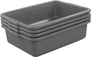 Idomy Small Plastic Wash Basin, Small Bus Tub/Box, 4-Pack, Gray