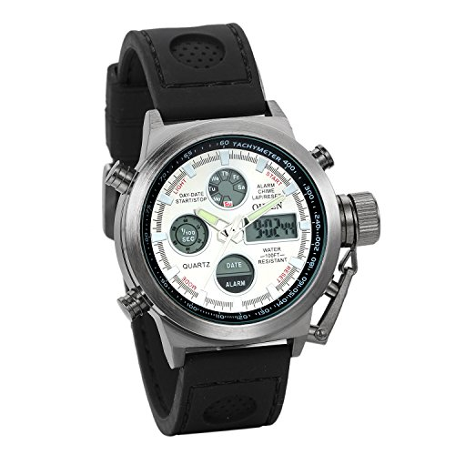 JewelryWe Reloj Militar Deportivo Noctilucente, Cuarzo de Movimiento Japonés, Correa de Nylon Impermeable para Aire Libre, Reloj de Hombre, Negro