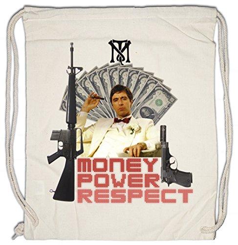Urban Backwoods Money Power Respect Tony Montana II Bolsa de Cuerdas con Cordón Gimnasio TM Blow Mobster Gangster Cuba Kuba Mafia The World is Yours