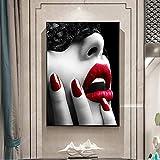 NIMCG Cartel Abstracto del Arte de la Muchacha de Maquillaje en los Labios de la Pared de la Lona Imagen del Arte de la Lona para la Sala de Estar (sin Marco) 60x80CM