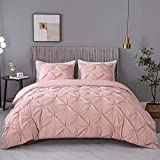 ASHLEYRIVER 3 Piece Luxurious Pinch Pleated Twin Duvet Cover with Zipper & Corner Ties 100% 120 g Microfiber Pintuck Duvet Cover Set(Twin Pink)