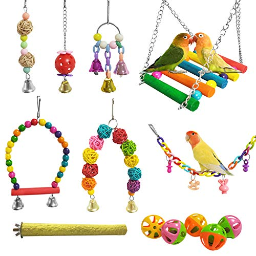 E-KOMG 13 Packs Bird Swing Toys,Parrot Chewing Hanging Perches with Bell,Pet Birds Cage Toys Suitable for Small Parakeets,Love Birds,Cockatiels,Macaws,Finches