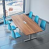 Weber Büro EASY Konferenztisch Bootsform 240x120 cm Nussbaum mit Elektrifizierung