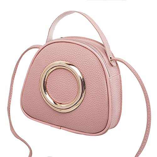 YIY vrouwen Smiley gezicht vorm PU cosmetische make-up tas handtas Crossbody tas Schoudertas voor dames 18.5 * 6 * 17cm roze