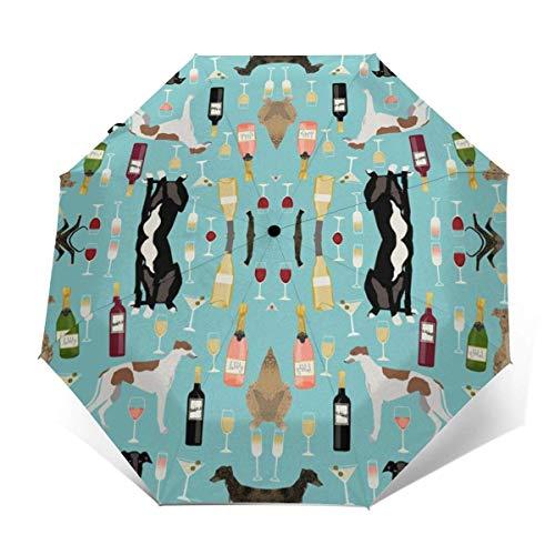 Automatischer dreifach gefalteter Regenschirm Schützen Sie Sonnenschutz Robuste winddichte leichte Regenschirme Greyhounds And Wine
