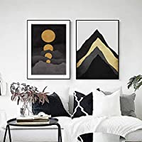 マウンテンキャンバス絵画壁アート背景ポスタープリント北欧抽象ピーク満月リビングルーム寝室家の装飾(70x90cm)x2フレームなし