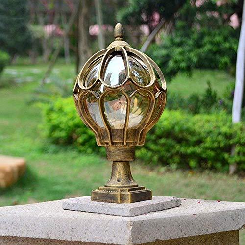 Patio Luz de pilar impermeable Patio exterior Lámpara de columna circular Lámpara de jardín de aluminio Balcón Césped Villa Pasillo Linterna clásica de poste de vid (Color: Negro, Tamaño: Medio)