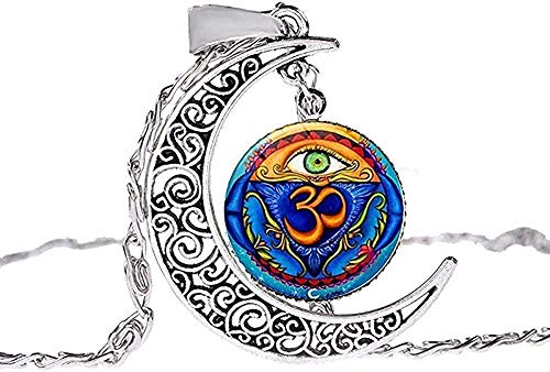ZJJLWL Co.,ltd Collar Hombre S Collar Musulmán Alá Ohm Hindu Budista AUM Om Símbolo Collar de Henna Flor Mandala Cristal Piedra Preciosa Hecha a Mano Hueco Luna Colgante Gargantilla