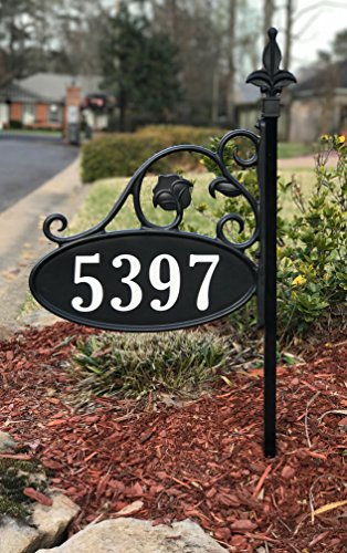 USA Handcrafted -Yard Sign Address Plaque with Highway-Grade Reflective Vinyl House Numbers Wrought Iron Look, Oval, Black, Double Sided House Plate, 911 Visibility Signage, 30' Pole