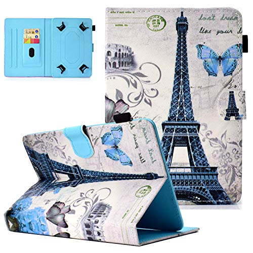 Popbag Universal Case for 8/8.4 Inch Tablet, Slim Lightweight Stand Card Holder Case for Galaxy Tab A 8.0 T290 T387 T380/ Tab A 8.4' T307/ Tab M8 8'/ Onn 8'/ HD 8/ Android Tablet 8 Inch, Paris Tower