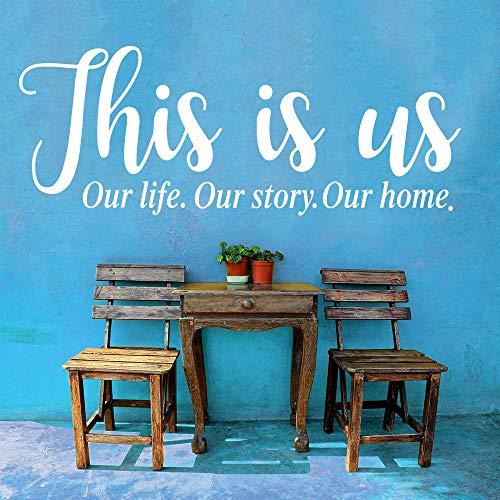 Muursticker Dit is ons leven onze geschiedenis onze huis citaat wandsticker slaapkamer woonkamer familie liefde citaat wandtattoo vinyl wooncultuur chocolade_80cmwiex30cm hoog cooldeerydm