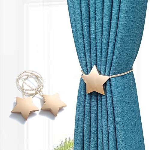 Sitengleカーテンタッセルマグネット星クリスマスプレゼントカーテンアクセサリー強力磁石カーテン留めカーテン留め飾りプレゼント人気((ゴールド,2個)