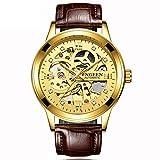 Reloj de Pulsera mecánico para Hombre, aleación, Esfera, Correa, números Romanos, Multiusos, Informal a la Moda -B