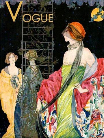 Fashion Lady Ladies Dress Moon Night Beautiful Vogue Poster 12' X 16' Image Size Vintage Poster Repro on Matte Paper