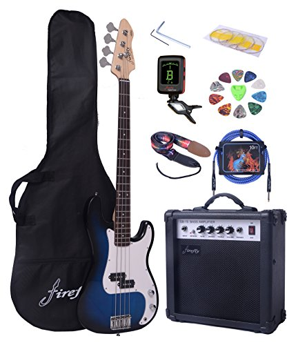 Full Size Blue Burst Electric Bass Guitar Pack with 15W power Amp Case Strap Package