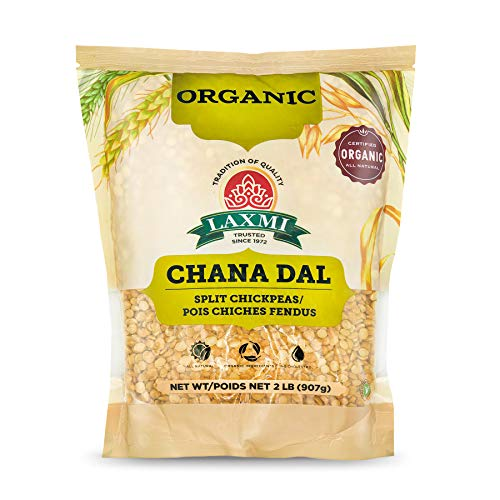 Laxmi Organic Chana Dal, Brown Baby Chickpeas, Organic, Pesticide and Fertilizer Free, Earthy and Nutty Flavor, Nutrition Packed Legume, Grains from India (2lb)