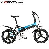 SMLRO lankeleisi G550Bicicletta elettrica con configurazione avanzata–20pollici 48V/240W 10Ah Litio E-Bike 7velocità–Bicicletta pieghevole piena Sospensione -5file, Black-Blue
