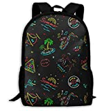 TRFashion Music Neon Signs Beach Vinyl Record Fashion Outdoor Shoulders Bag Durable Travel Camping for Adult Backpacks Sac à Dos