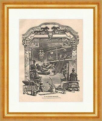Kunstdruck In Einer chinesischen Opiumhöhle Holzstich v. R.Völkel Pfeife Tee P 0111 Gerahmt