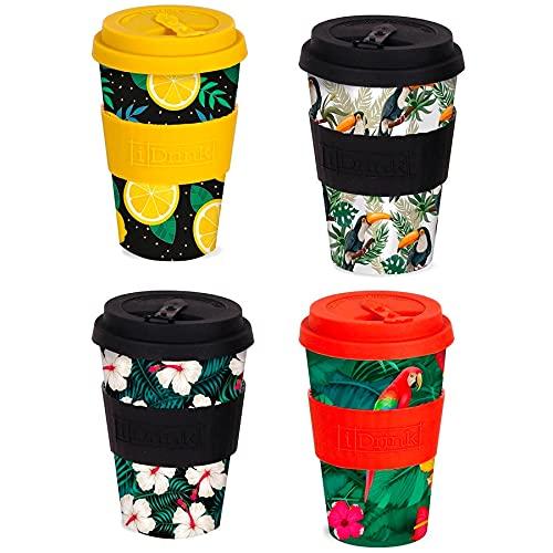 Lote de 4 Tazas Vaso surtidas tapa térmica para bebidas calientes y frías material Bambú 435 ml. Reutilizables + REGALO 4 Libretas Din A-4