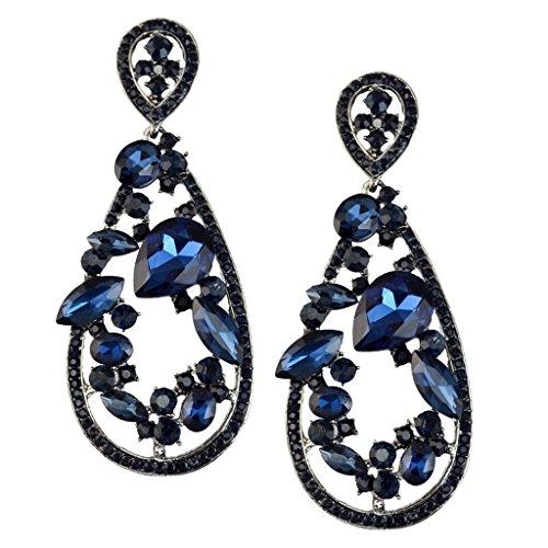 joyMerit Pendientes Colgantes de Diamantes de Imitación de Gota de Agua Joyería de Fiesta de Boda - Azul