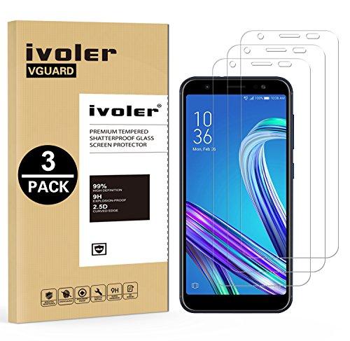 iVoler [3 Pack] Pellicola Vetro Temperato per ASUS Zenfone Max (M1) ZB555KL 5.5'', Pellicola Protettiva, Protezione per Schermo