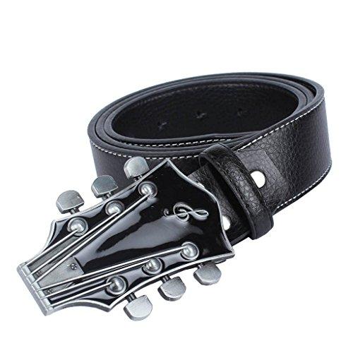 Baoblaze Männer Gürtel Taillengürtel aus Leder Breiter Hüftgürtel mit Gitarre Schnalle - farebn auswählen - Schwarz, 120cm