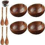 12-15cm Conjunto de cueño Natural de Coco de Madera Ensalada de Madera Ramen Bowl Coconut Wood Spoon Set Coco Smoothie Cocina Vajilla Coconut Bown Snack Dip Bowls Sets 727 (Color : 4 Bowl 4 Spoon)