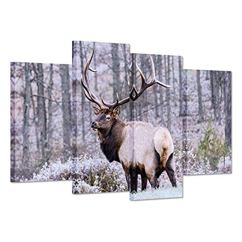 iHAPPYWALL 4 Panel Wild Animal Canvas Wall Art Deer Elk Look Back In Forest Bushes The Picture Print On Canvas Stretched And Framed For Home Decor Ready To Hang