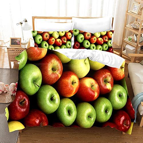 Fruit Duvet Cover Set for Single Double King Bed, Morbuy 3D Bedding Sets Boy Girl Bedroom Microfiber Duvet Set Quilt Case with Pillowcases (apple,220x260cm)