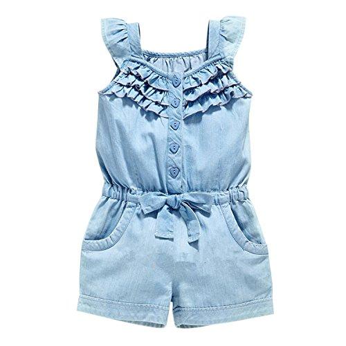 Chic-Chic Combinaison Bébé Fille Jeans Hauts sans Manche Bretelle Short Denim Taille Haute Casual Mode Printemps Eté Bleu 24-36mois