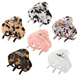 Hair Claw Clips for Women Girls, Funtopia 6 Pack 2.2 Inch Tortoise Barrettes Acrylic Hair Jaw Clips Clamp Celluloid Leopard Print Hair Clips for Thin Hair (Medium Size, Assorted Color)