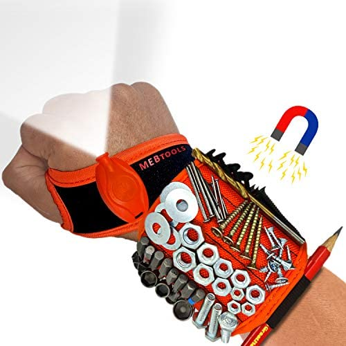 Magnetic Wristband with Flashlight and Tape Measure Screw Drill Bit and Nail Holder with 20 product image