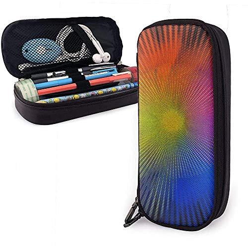 Bolso de Lápiz de Cuero de PU, Estuche de Marcador de Almacenamiento de Color Arco Iris, Porta Bolígrafo, Organizador de Papelería