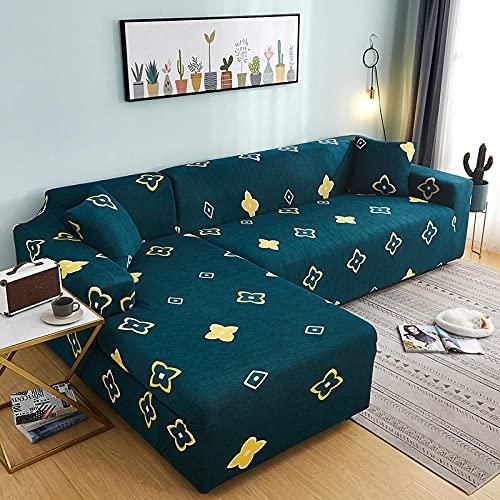 Funda Elástica para Sofá Cubierta del Funda de Protectora para sofá Estampado de Colores con Estampado de Tela de poliéster Lucky and Rich 2 Funda de Almohada 45x45cm Fácil de Instalar