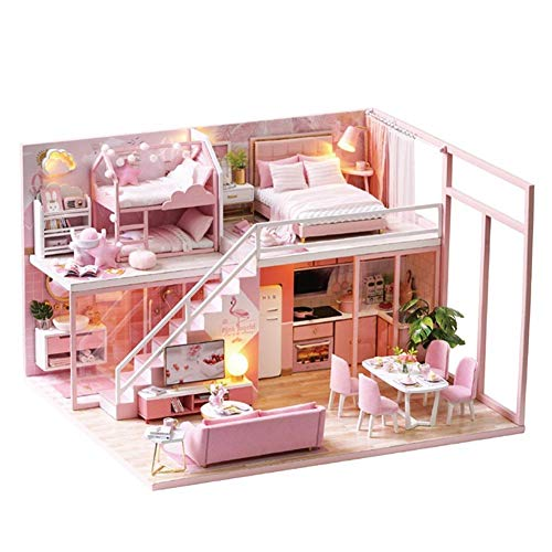 Bulary DIY Dollhouse 3D Assembly Dachboden Miniaturhaus Mit Musik Bewegung Double-Layer-Wohnung Mit Treppe Für Urlaub Geburtstagsgeschenke