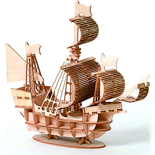 3D Wooden Puzzle Model Kit Mechanical Craft Set, Educational Toy Building Engineering Set Christmas/Birthday Gift for Kids Age 12+ (Sailing Ship)