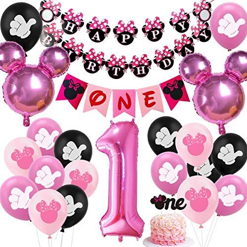 Decoraciones de primer cumpleaños Minnie Minnie 1 año edad Suministros fiesta cumpleaños para niñas - Globos Minnie rosa para silla alta, decoración para tarta para el primer cumpleaños