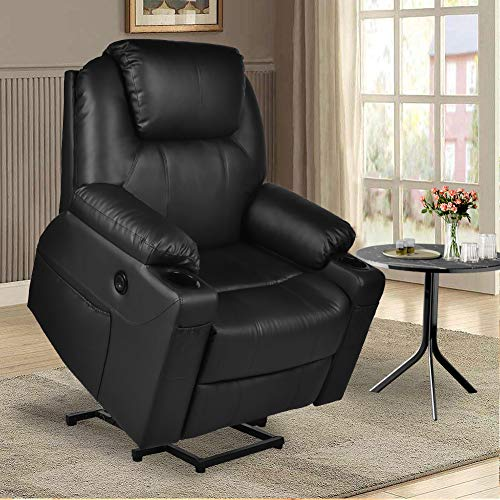 MAGIC UNION Power Lift Electric Recliner Chair PU Leather for Elderly Sleeper Heated Vibration Massage Sofa with Side Pockets USB Charge Port Cup Holder & Massage Remote Control Living Room (Black)