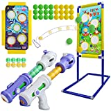 Shooting Game Toy for kids - 2 in 1 Foam Ball Popper Toy Gun for Boys - Shooting Target 24 Foam Balls & 6 Sticky Balls - Birthday Toys Gift Age 4 5 6 7 8 9 10+ Year Old - Compatible with Nerf Toy Guns