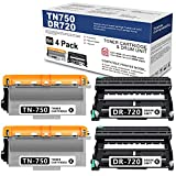 LITHYINK Compatible Toner Cartridge and Drum Set TN750 DR720 (2 Drum + 2 Toner) Replacement for Brother HL-5470DW HL-5450DN DCP-8150DN DCP-8110DN MFC-8710DW MFC-8810DW MFC-8910DW Printer