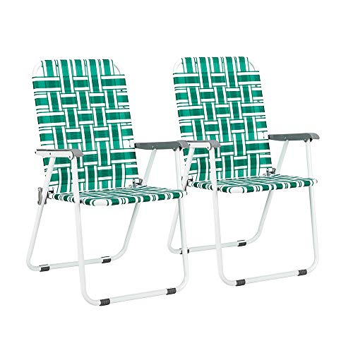 VINGLI Patio Folding Web Lawn Chair Set, 2 Pack Outdoor Beach Chair Portable Camping Chair, Webbed Folding Chair for Yard, Garden (Green)