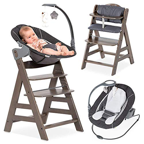 Hauck Alpha Plus Newborn Set Deluxe - Trona evolutiva con Hamaca reclinable, móvil y cojín - Trona bebe convertible - Silla Trona Madera haya - Charcoal