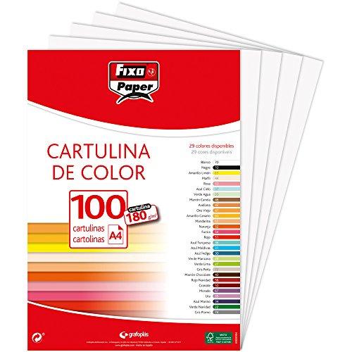 Fixo Paper 11110470 - Pack de 100 – Cartulina blanca A4, 180g
