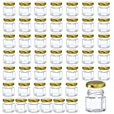TinQee 48 Pack 1.5oz Hexagon Glass Jars with Golden Metal Lids, Mini Canning Jars for Honey, Jam, Jelly, Wedding Party Favors, Gifts and Crafts(Include 48 Chalkboard Labels)