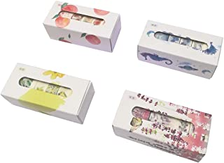 Fresh Masking Tape Set (4 Box, 20 Rolls) Blue Ocean Planet Fish Whale Seaweed Jellyfish Forget-me-not Lavender Peach Fruit Floral Winter Jasmine Daylily Scrapbook Diary Planner Gift Wrapping Sticker