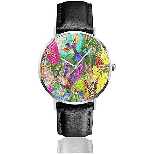 Schilderij Kolibri vlinder horloges analoog roestvrij staal kwartshorloges met lederen band