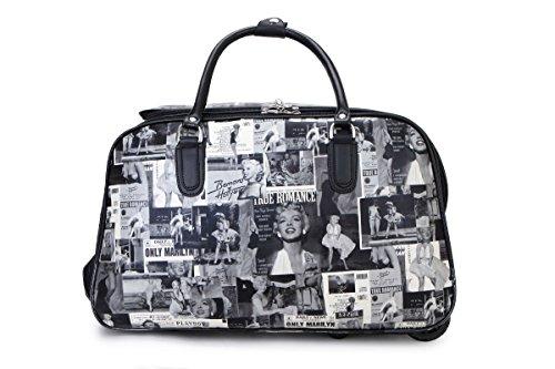 Sale Sale New Ladies Travel Holdall Bags Hand Luggage Women Design Print Weekend Wheeled Trolley Bag (Marilyn Monroe)